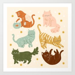 Rainbow Cats Art Print