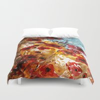 poppies Duvet Covers featuring Poppies by James Peart