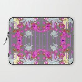 Pink Flowers White Mums Grey Color Garden Art Laptop Sleeve