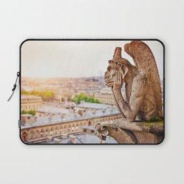 Thinking figure Chimera or Gargoyle in Paris, France, Basilica of Notre Dame Laptop Sleeve
