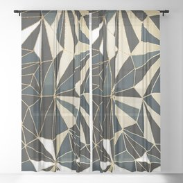 New Art Deco Geometric Pattern - Emerald green and Gold Sheer Curtain