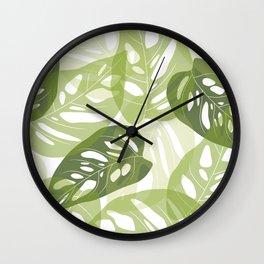 Light green leaves Wall Clock