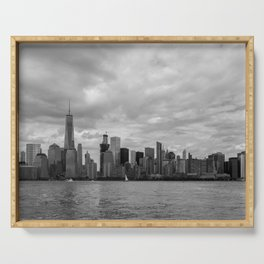 Lower Manhattan in Black and White Serving Tray