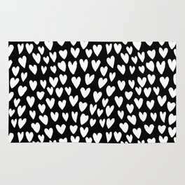 Linocut printmaking hearts pattern minimalist black and white heart gifts Rug