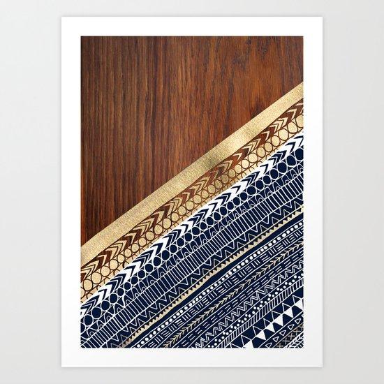 Navy & Gold Tribal on Wood Art Print