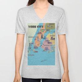 New York City Fine Art Print Retro Vintage Favorite Map with Touristic Highlights Unisex V-Neck