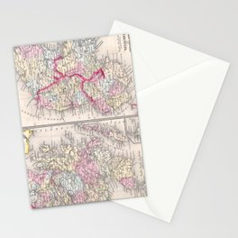 Vintage Map of Ireland and Scotland (1864) Stationery Cards