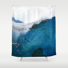 In the Surf: a vibrant minimal abstract painting in blues and gold Shower Curtain
