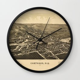 Aerial View of Carthage, New York (1888) Wall Clock
