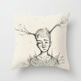 Sad Tree Boy Throw Pillow