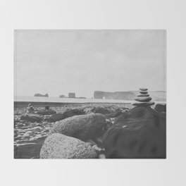 Black Sand Beach Throw Blanket