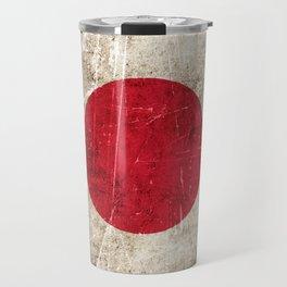 Vintage Aged and Scratched Japanese Flag Travel Mug