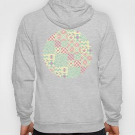 Yellow, Pink & Green Squared Patchwork Pattern Hoody