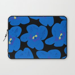 Blue Retro Flowers on Black Background #decor #society6 Laptop Sleeve