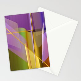 Modern abstract with crossing golden lines Stationery Cards