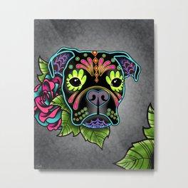 Boxer in Black - Day of the Dead Sugar Skull Dog Metal Print