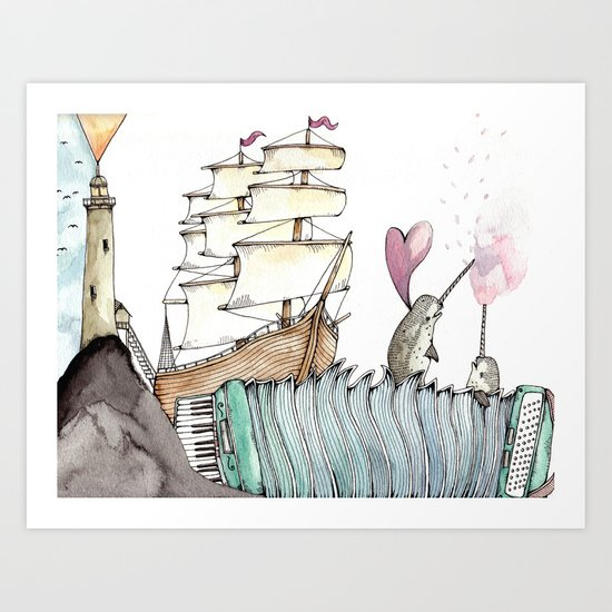 Accordion Sea Art Print