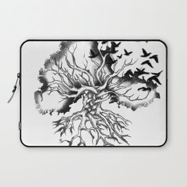 Hand designed Celtic pattern tree with knots and crows Laptop Sleeve