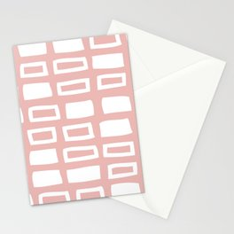 Mid Century Modern Abstract Squares Pattern 541 Dusty Rose Stationery Cards