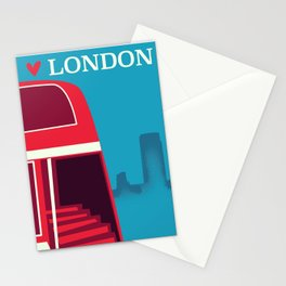 Love London vintage bus travel poster Stationery Cards