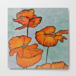 Orange Poppies / Mixed Media Painting Metal Print