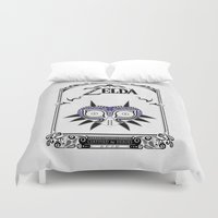 the legend of zelda Duvet Covers featuring Zelda legend - Majora's mask by Art & Be