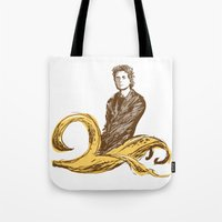 lou reed Tote Bags featuring Banana Lou by Elwood Madison