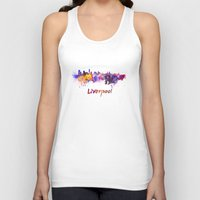 liverpool Tank Tops featuring Liverpool skyline in watercolor by Paulrommer