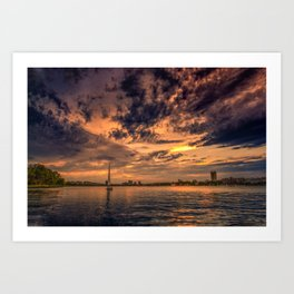 Sunset over Cambridge, MA Art Print