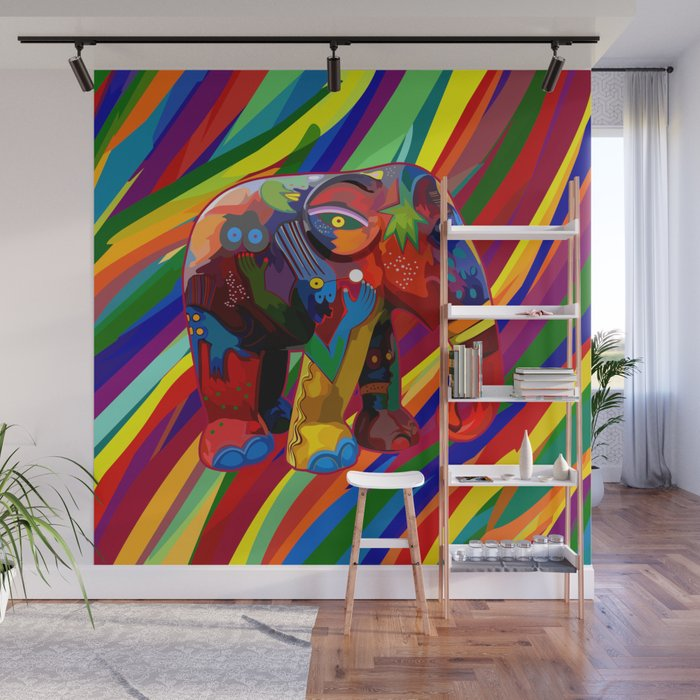 Full Color Abstract Elephant Wall Mural By Digitalizedteam