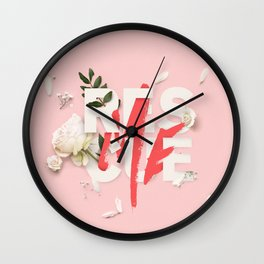 RESCUE ME   Digital typography floral poster pink Wall Clock