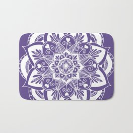 Ultraviolet Flower Mandala Bath Mat