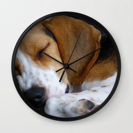 Beagle Dog Sleeping Wall Clock