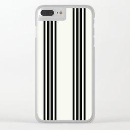 Simply Black White Stripe Clear iPhone Case