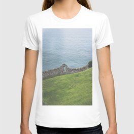 Where the ocean meets the land. Green/blue landscape with an old wall in Ireland / fine art seascape T-shirt