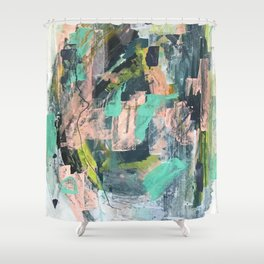 Connect: a vibrant acrylic abstract in neon green, blues, pinks, & hints of orange Shower Curtain