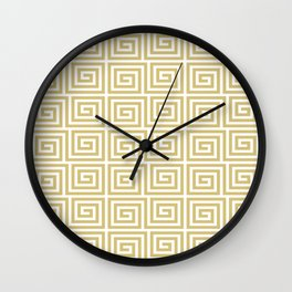Hollywood Regency Greek Key Pattern Gold and White Wall Clock
