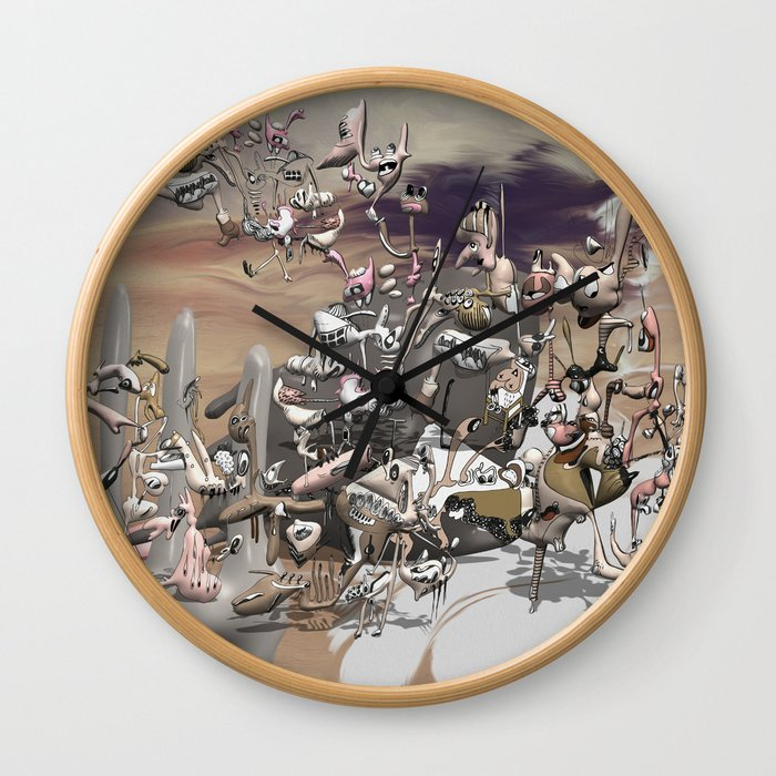 Migration II - surreal doodle sandworld Wall Clock