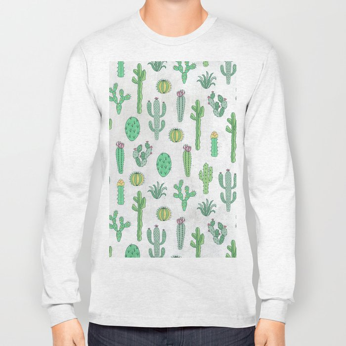Cactus Pattern White Long Sleeve T-shirt