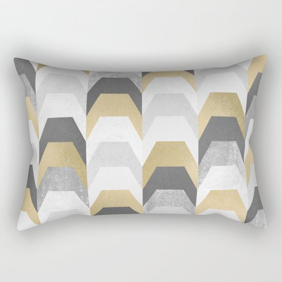 Stacks of Gold and Grey Rectangular Pillow