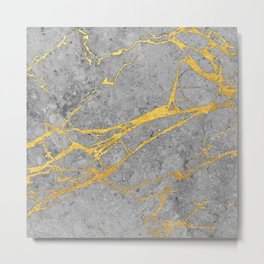 Grey marble and gold Metal Print