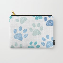 Blue colored paw print background Carry-All Pouch