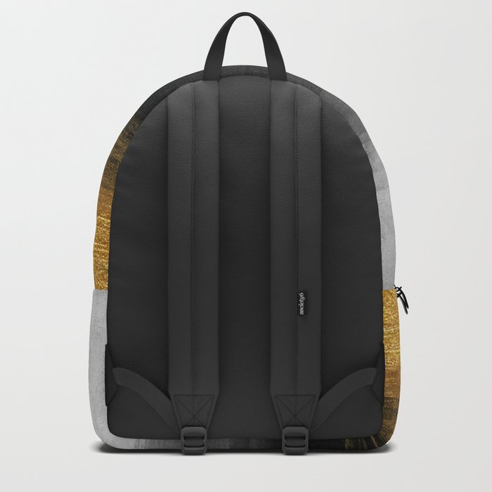 Black and Gold grunge stripes on modern grey concrete abstract background - Stripe -Striped Backpack