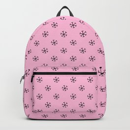 Black on Cotton Candy Pink Snowflakes Backpack