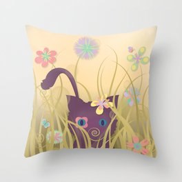 Wild Kitty Cat, Spring Blooming Flowers, Golden Beige Sky Throw Pillow