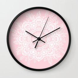 Mandala Bohemian Summer Blush Millennial Pink Floral illustration Wall Clock