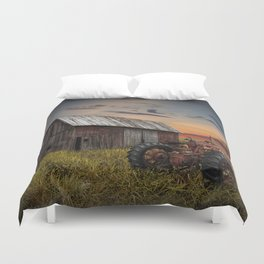 Abandoned Farmall Tractor and Barn Duvet Cover
