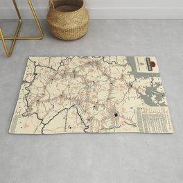 ADAC Autobahn-Karte. 1950 Vintage Map of Autobahn in Germany. Rug