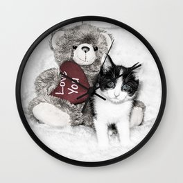 Valentines kitten and teddy Wall Clock