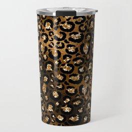 Glam Bronze and Black Faux Glitter Cheetah Print Travel Mug